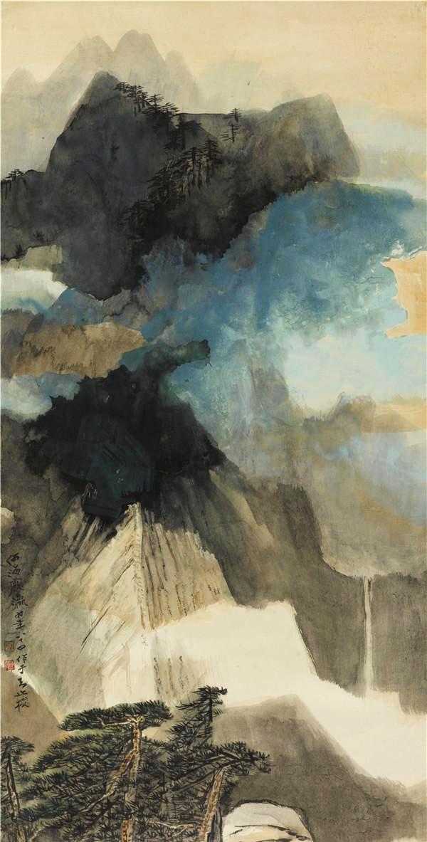泼彩云山 1992年 97×47cm